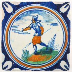 Antique Delft tile with a pikeman, 17th century