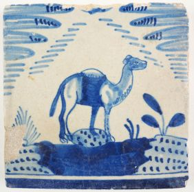 Antique Delft tile with a camel, 17th century
