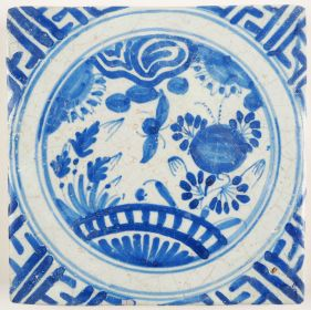 Antique Delft wall tile with a Chinese Garden, 17th century
