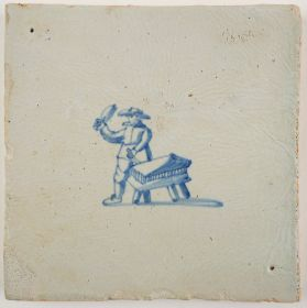 Antique Delft tile with a sculptor, 17th century