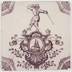 Antique Delft tile with a cartouche, 18th century
