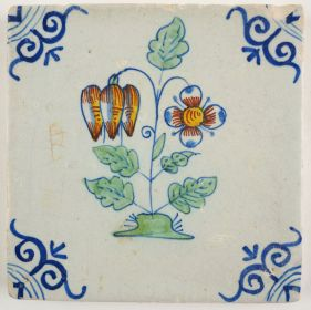 Antique Delft tile with two colorful flowers, 17th century