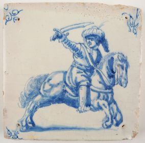Antique Delft tile with a horseman, 17th century