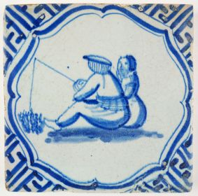 Antique Delft tile with a couple fishing, 17th century