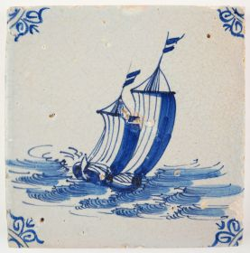 Antique Delft tile with a cargo boat on a rough sea, 17th century