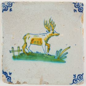 Antique Delft tile with a polychrome stag, 17th century