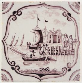Antique Delft tile with a harbor scene, 18th century