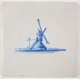 Antique Delft tile with a post-mill, 17th century
