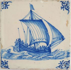 Antique Delft tile with a cargo boat under sail, 17th century