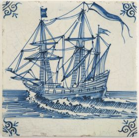Antique Delft tile with a warship, 17th century