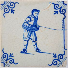 Antique Delft tile with a rope-maker, 17th century
