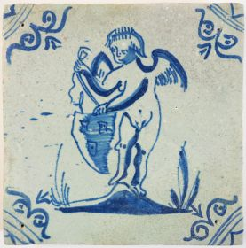 Antique Delft tile with Cupid holding an escutcheon, 17th century