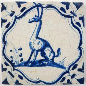 Antique Delft tile with a giraffe, 17th century