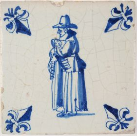 Antique Delft tile with mother and child, 17th century