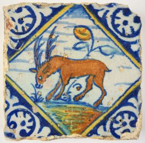 Antique Delft tile with a stag, 16th century