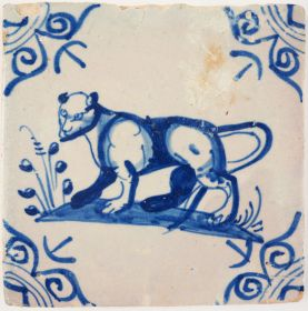Antique Delft tile with a lioness, 17th century