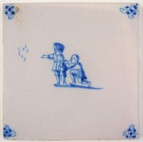 Antique Delft tile with two hunters, 18th century