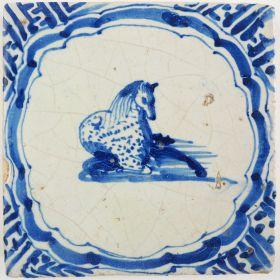 Antique Delft tile with a horse, 17th century