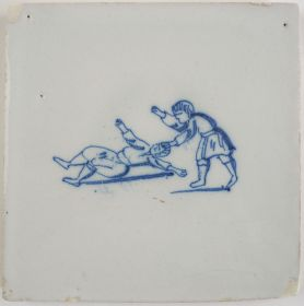 Antique Delft tile with two figures fighting, 18th century
