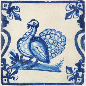 Antique Delft tile with a Turkey, 17th century