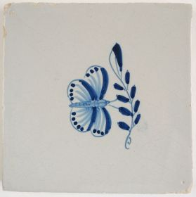 Antique Delft tile with a butterfly, 18th century