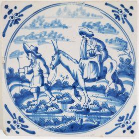 Antique Delft tile depicting the Flight into Egypt, 18th century