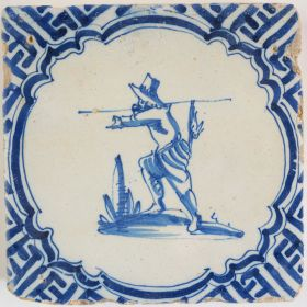 Antique Delft tile with a hunter, 17th century