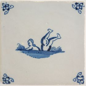 Antique Delft tile with two swimmers, 18th century