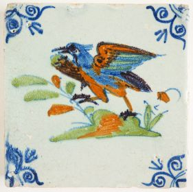 Antique Delft tile with a Northern Lapwing, 17th century