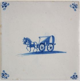 Antique Delft tile with a beer wagon, 18th century