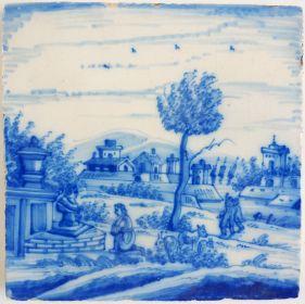 Antique Delft tile with a city scene, 19th century