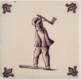 Antique Delft tile with a lumberjack, 20th century