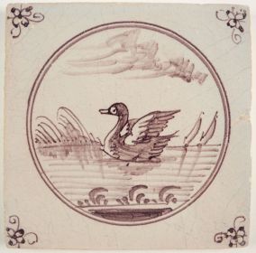 Antique Delft tile with a swan, 19th century