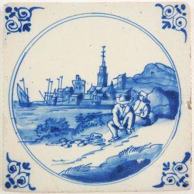 Antique Delft tile with a coastal scene, 17th century