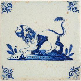 Antique Delft tile with a lion, 17th century