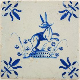 Antique Delft tile with a hare, 17th century