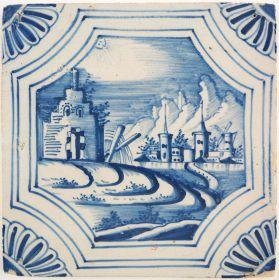 Antique Delft tile with a picturesque landscape scene, 18th century