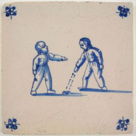 Antique Delft tile with two children playing a game of kooten, 19th century