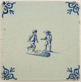 Antique Delft tile with two children playing a game of hopscotch, 17th century