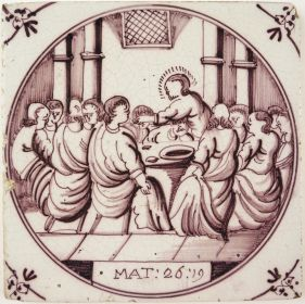 Antique Delft tile with the Last Supper, 18th century