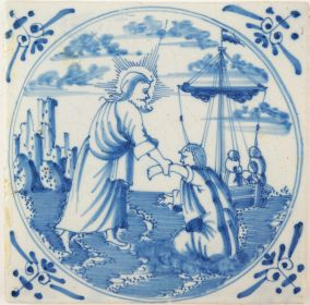 Antique Delft tile with Jesus saving Peter, 18th century