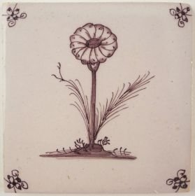 Antique Delft tile with a Daisy, 18th century