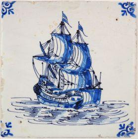 Antique Delft tile with a fluyt, 17th century