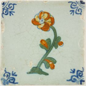 Antique Delft tile with a rose, 17th century
