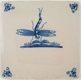 Antique Delft tile with a dragonfly, 17th century
