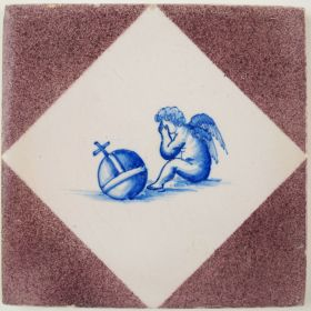 Antique Delft tile with Cupid and a Globus Cruciger, 20th century