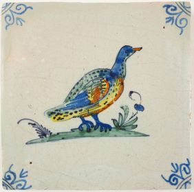 Antique Delft tile with a duck, 17th century