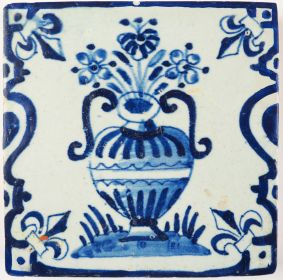 Antique Delft tile with a Chinoiserie flower vase, 17th century