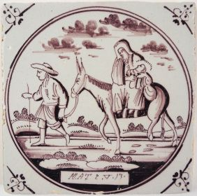 Antique Delft tile with the Flight into Egypt, 18th century