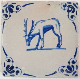 Antique Delft tile with a stag, 17th century